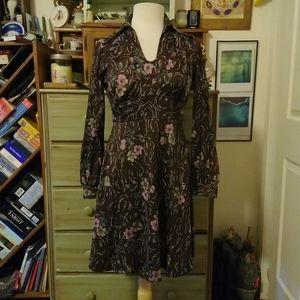 Vintage 1970s brown floral polyester disco dress